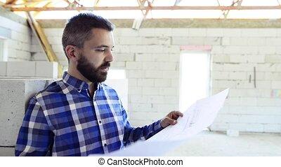 site., construction, jeune homme