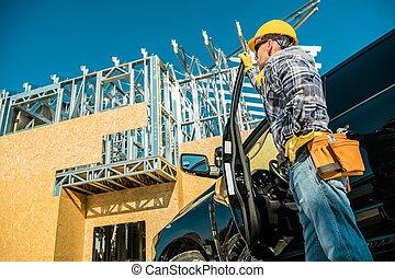 site construction, ouvrier