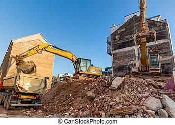 Emmagasiner construction site d molition pendant for Site construction maison
