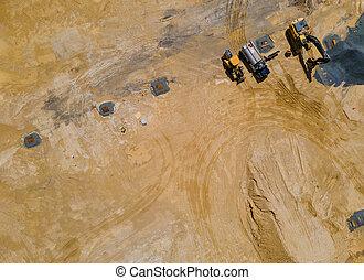 site construction, processus, maison, vue, préparation