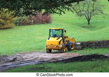 site construction, route, machinerie