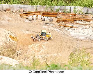 site., construction, tracteur, fonctionnement