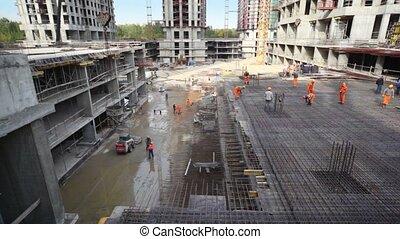 site, construire, bâtiment, cadre, ouvriers, métal