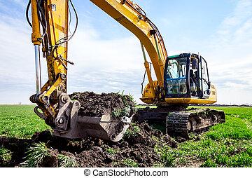 site, creuser, bâtiment, excavateur