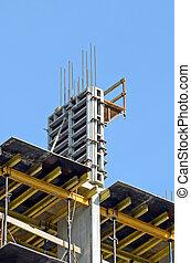 site, détail bâtiment, construction, bleu ciel, contre