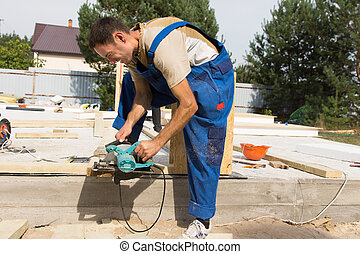 site, faisceau, bois, charpentier, ponçage