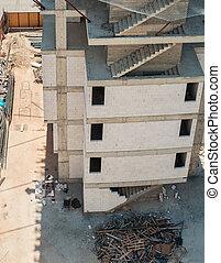 site, filet, sous, angle, élevé, escaliers, vue, bâtiment béton, construction, sécurité, inachevé