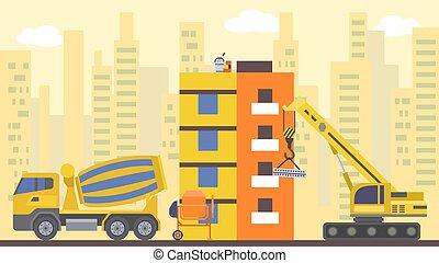 Site flat build, vector illustration. Crane design city house, home architecture industry concept and urban development.