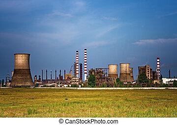 site industriel, -, paysage, de, raffinerie pétrole
