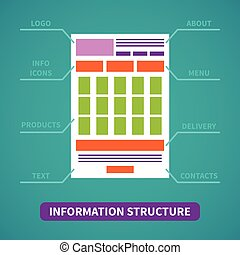 Site information structure vector concept in flat style