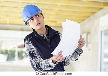 site, inspection, architecte, femme