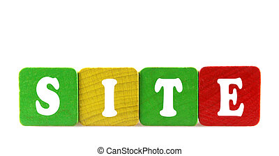 site - isolated text in wooden building blocks