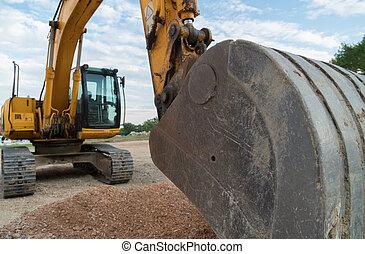 site., jaune, construction, fonctionnement, excavateur