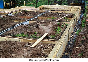 site, métal, vue, formwork, bois, tige, construction