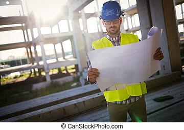 site, métier, contremaître, construction