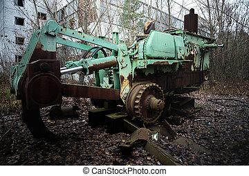 site, machinerie, construction, abandonnés, closeup, photo