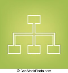 Site map line icon on green background. Vector illustration