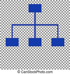 Site map sign. Blue icon on transparent background.