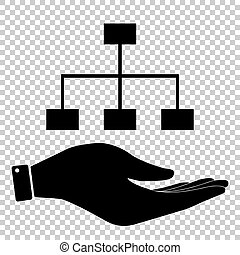 Site map sign. Save or protect symbol by hand