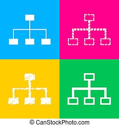 Site map sign. Four styles of icon on four color squares.