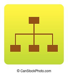Site map sign. Vector. Brown icon at green-yellow gradient square with rounded corners on white background. Isolated.