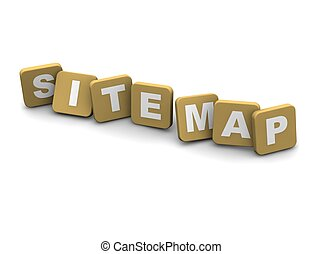 Site Map text. 3d rendered illustration isolated on white.