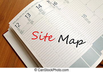 Site map text concept - Business Notepad on wooden table and...