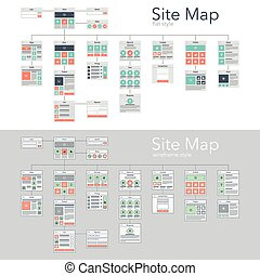 Site Map - Flat and wireframe design style vector...