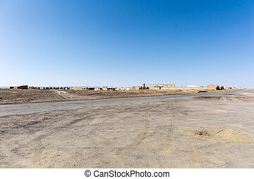 site of the ruins of oil base, cold lake town, haixi mongolian and tibetan autonomous prefecture, qinghai province, China