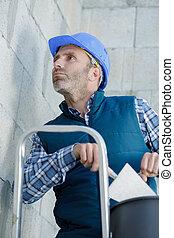 site, ouvrier, échelle, construction