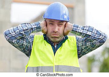site, pollution, souffrance, construction, bâtiment, bruit