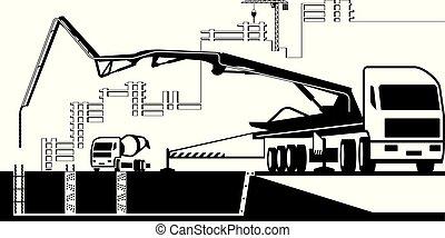 site, pumpe, arbejder, konstruktion, lastbil, konkret