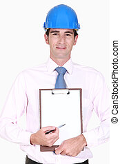 Site surveyor holding clip-board