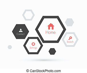 Site template with hexagons. Flat design