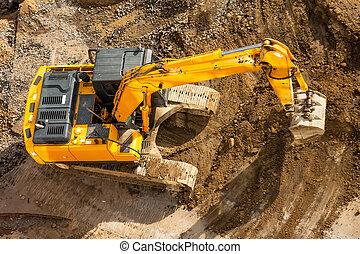 site, terrestre, aérien, vue., excavateur, élevé, construction, sommet, seau