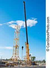 site., tour, construction, installation, grue
