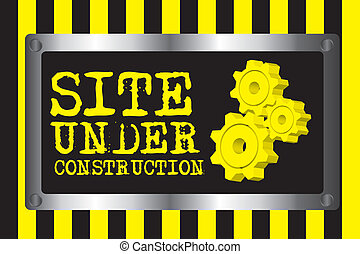 yellow and black site under construction with gears over lines background. vector