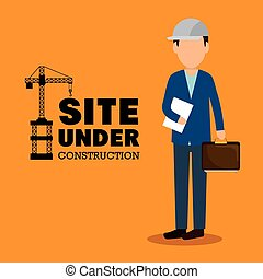 site under construction man manager icon