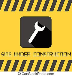 Site Under Construction Title with Spanner Icon on Yellow Background