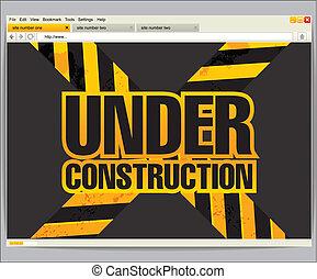 site, vindue, konstruktion, skabelon, under, browser