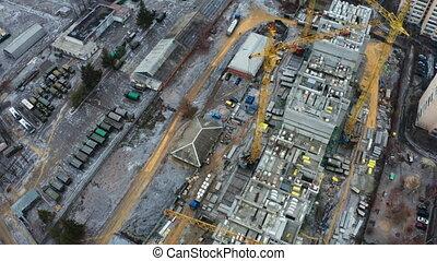 site, vue, grues, bourdon, -, construction, aérien