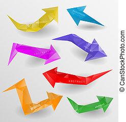 site web, être, utilisé, félicitation, tridimensionnel, set., polygonal, flèches, invitation, flèche, vector/, ?an, ou, icône