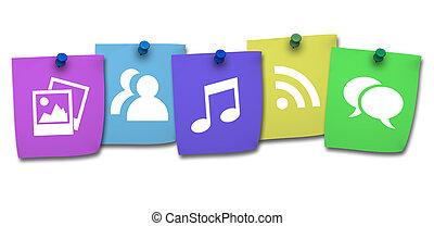 site web, ícone, ligado, coloridos, poste