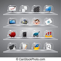 site web, ícones internet, vidro, botão