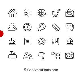 site web, //, ícones, série, ponto, vermelho