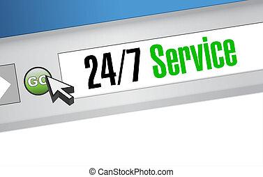 site web, 24-7, concept, service, signe