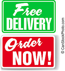 site web, anúncio, ícones, livre, entrega, sinais, agora,...