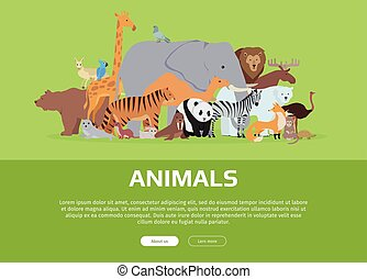 site web, animaux, gabarit, banner.