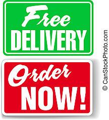 site web, annonce, icônes, gratuite, livraison, signes, ...