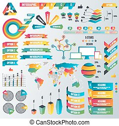 site web, apartamento, estilo, elementos, negócio, grande, -, livreto, infographic, apresentação, projeto fixo, ilustração, infographics, cobrança, etc.